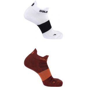 Salomon Sense - Chaussettes course à pied - 2 Pack rouge/blanc EU 36-38 Chaussettes Running