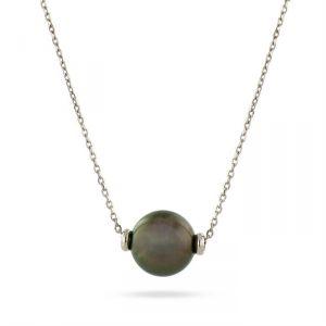 Rêve de diamants CDNCPOR214 - Collier maille forçat diamanté en or blanc 750/1000 et perle de Tahiti