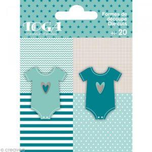 Toga Die cuts à assembler - Color factory - Body Bleu et taupe - 20 formes en papier