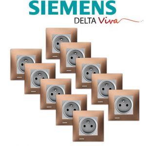 Siemens LOT 10 Prise 2P+T Silver Delta Viva + Plaque Métal Marron