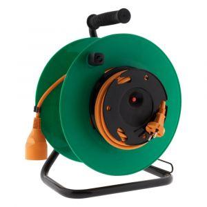 Zenitech Enrouleur jardin sans prise - Câble HO5VV-F 2x 1,5mm² 25m - Platine Fixe avec guide câble