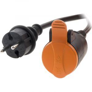 Zenitech Rallonge étanche 2P H05VV-F 2x 1,5mm² 25m avec clip de fixation orange