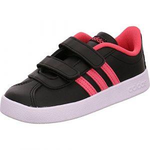 Adidas VL Court 2.0 CMF I, Chaussures de Fitness Mixte Enfant, Noir (Negbas/Ftwbla/Rosrea 000), 23 EU