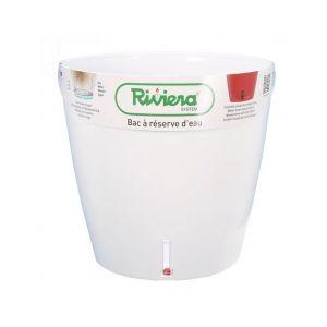Riviera Pot plastique à réserve d'eau Diam.45 x H.45 cm blanc