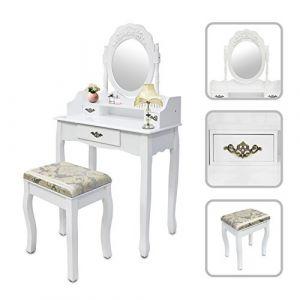 Todeco Coiffeuse, Table de Maquillage, Blanc, 3 tiroirs, miroir oval cadré, Matériau: MDF, Bois de Paulownia