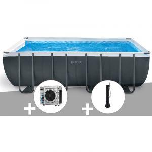 Intex Kit piscine tubulaire Ultra XTR Frame rectangulaire 5,49 x 2,74 x 1,32 m + Pompe à chaleur + Douche solaire