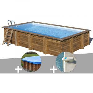 Sunbay Kit piscine bois Evora 6,00 x 4,00 x 1,33 m + Bâche hiver + Alarme