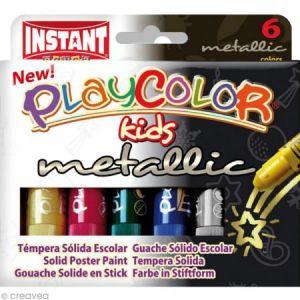 Instant PLAYCOLOR - METALLIC ONE - Stick de peinture gouache solide 10 g - 6 couleurs assorties
