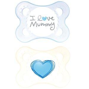 Mam 2 sucettes Decor Coeur en silicone (0-6 mois)