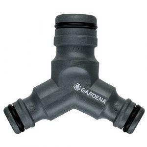 Gardena Dérivation-réducteur en Y grand débit de : robinet à deux voies pour le fonctionnement simultané de deux dispositifs d'arrosage (2834-20)