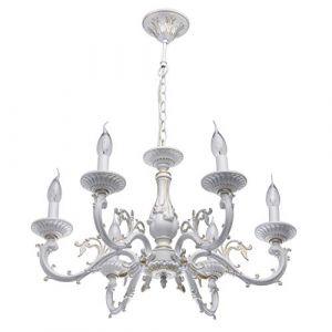 MW-Light 371011206 Lustre Chandelier à 6 Branches Lampes Bougies Design Classique Shabby Chic en Métal Blanc Doré Coloré à La Main pour Salon Salle à Manger 6x60W E14