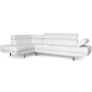 Canapé d'angle avec têtières relevables Alfa Blanc