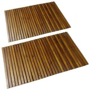 VidaXL tapis de bain en acacia 2 pcs -