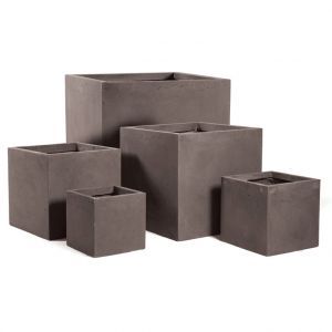 Mcollection Pot carré GENEVE 28x28xH.28 Taupe