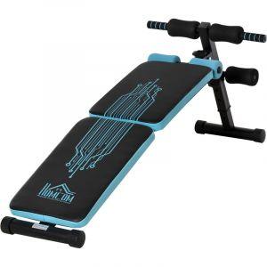 Homcom Banc de musculation pliable banc abdominaux hauteur réglable 4 positions dim. 144L x 53l x 45-60H cm bleu noir 144x53x60cm Bleu