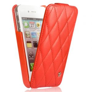 Issentiel Housse pour iPhone 4/4S Cuir Rouge - Collection Cosy