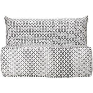 BECCI Banquette BZ 2 places - Tissu noir et blanc - Style contemporain - L 142x P 101 cm - BZ + matelas BULTEX 2 places - Tissu motif géométrique - Style contemporain - L 142x P 56 cm