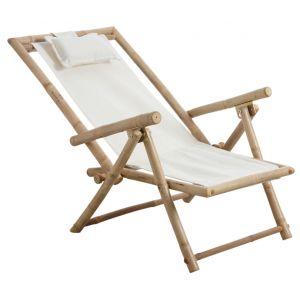 Aubry Gaspard Chaise relax pliante en bambou