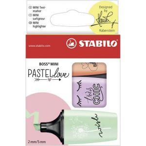 Stabilo 07/03-47 - Etui de 3 surligneurs BOSS Mini Pastellove, pointe biseau 2-5 mm, coloris menthe/lilas/pêche