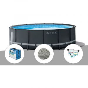 Intex Kit piscine tubulaire Ultra XTR Frame ronde 5,49 x 1,32 m + Bâche à bulles + 20 kg de zéolite + Kit de traitement au chlore