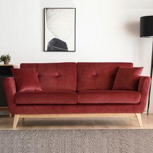 Concept-Usine Hoga Velours Rouge : Canapé scandinave 3 places rouge + 2 coussins