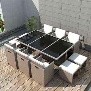 VidaXL Mobilier de jardin 27 pièces résine tressée gris