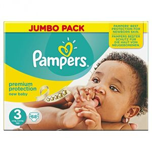 Pampers New Baby taille 3 Midi 4-9 kg - Jumbo Pack x 68 couches
