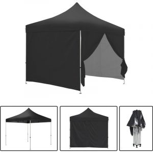 Greaden Tente pliante noire avec 4 murs amovibles 3x3m ECO Tube 25mm en acier Bâche 420D étanche Barnum pliante + Sac de transport