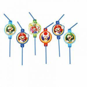 8 pailles en plastique Super Mario