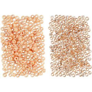 Creotime Perles de rocaille, taille 15/0, taille du trou 0,5-0,8 mm, pêche, pêche claire, 2 x 7 g.