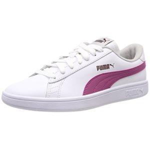 Puma Smash V2 L Jr, Sneakers Basses Mixte Enfant, Blanc White-Magenta Haze-Fig-Gray Violet 08, 39 EU