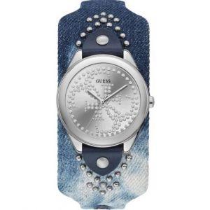 Guess : Montre W1141L1 - HEARTBREAKER Boitier Acier Gris Bracelet Cuir Bleu Cadran Gris Femme