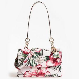 """Guess <p>Sac porté épaule <strong> </strong> """"Chic Shine Floral"""" en synthétique gaufré du logo 4G et fleuri. <br />Un très joli petit sac qui contient deux compartiments et deux poches plates. <br />Sa longue bandoulière amovible vous permettra de le"""