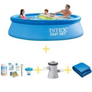 Intex Easy Set – Bassin d'exterieur - Ronde - 305 x 76 cm - Avec WAYS Pack d'entretien piscine, Pompe filtrante & Bâche de sol
