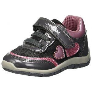 Geox B Shaax B, Baskets Basses Bébé Fille, Gris (Grey/Pink C0502), 23 EU