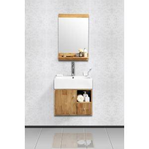 Miliboo Meuble sous vasque Evan pour salle de bain avec miroir