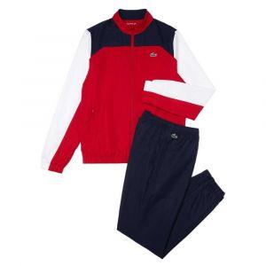 Lacoste Ensemble de survêtement Tennis Sport color-block Taille M Rouge/blanc/bleu Marine/blanc/noir