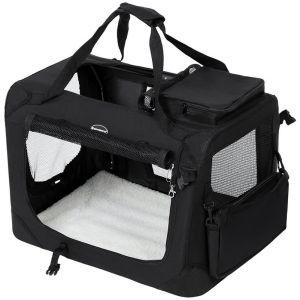 Songmics Cage de transport Caisse Sac de transport pliable pour chien animal domestique noir M 60 x 40 x 40 cm PDC60H