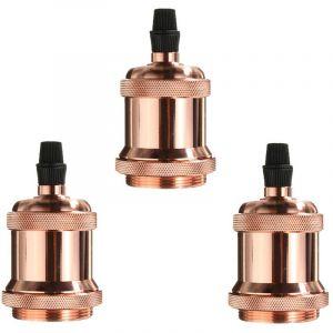 Axhup 3Pcs Douille E27 Spirale Edison LED Adaptateur de Lampe DIY Vintage Retro pour Lustre Suspension plafonnier, Or rose
