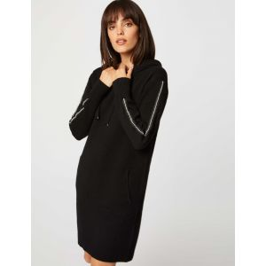 Morgan Robe Tricot à Capuche RMGO Casual Dress, Noir, S Womens