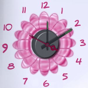 Horloge murale sticker Design Flower Power
