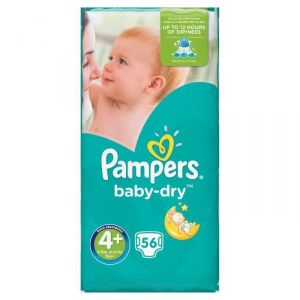 Pampers Baby Dry taille 4+ (9-18 kg) - 56 couches