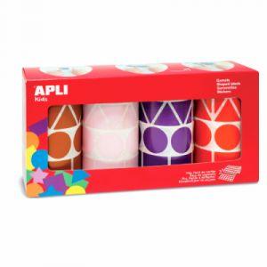 APLI Maxi gommette geometrique adhesive - Lot de 4 rouleaux