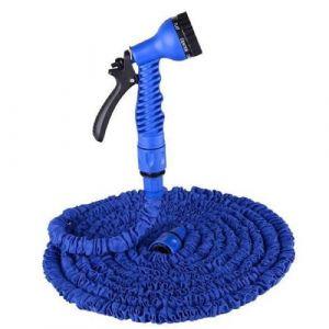 Hobby Tech Tuyau arrosage bleu 7 fonctions extensible, longueur maxi 30 m