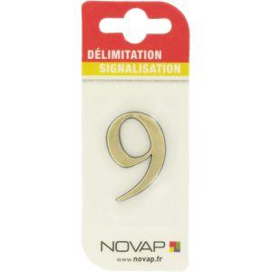 Novap Chiffre '9' adhésif plastique relief coloris or
