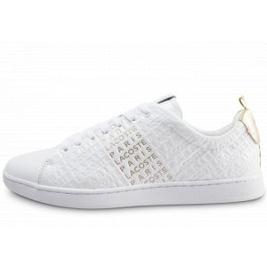 Lacoste Femme Carnaby Evo Blanche Et Or Baskets
