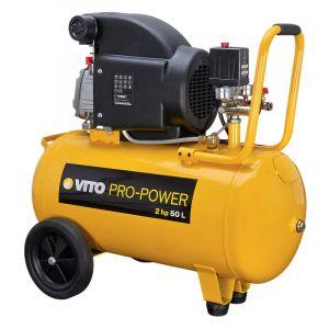 Vito Pro-Power Compresseur d'atelier 50 L 230V VITO POWER à huile 2 cv 8 Bar 1500 W Gonflage Soufflage Agrafage Meulage Burinage