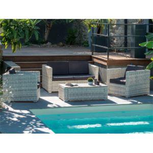 Garden Park Salon de jardin Oceane - banquette 3 places + 2 fauteuils et 1 table basse