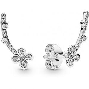 Pandora Boucles d'oreilles 297936CZ - Boucles d'oreilles Fleurs Grimpantes à Quatre Pétales en Argent