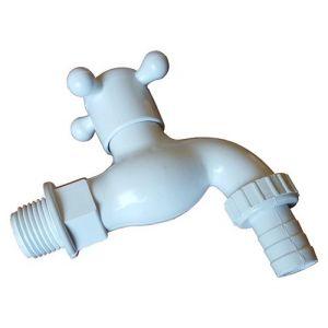 """Goshe 1/2 """"en plastique blanc extérieur arrosage de jardin vanne de robinet avec raccord de tuyau"""
